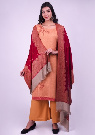 Peach Embroidered Pashmina Suit Set