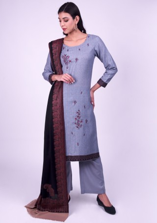 Blue Embroidered Pashmina Suit Set