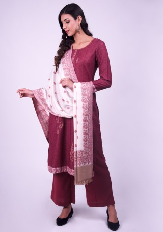 Wine Embroidered Pashmina Suit Set