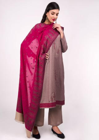Mauve Embroidered Pashmina Suit Set