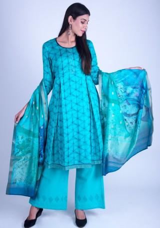 Light Blue Printed Satin Silk Suit Set