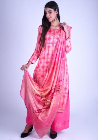 Light Pink Printed Satin Silk Suit Set