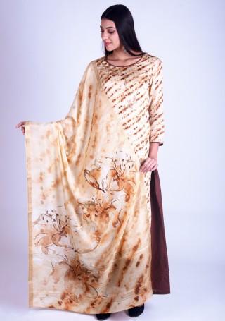 Cream and Dark Brown Satin Silk Salwar Suit Set