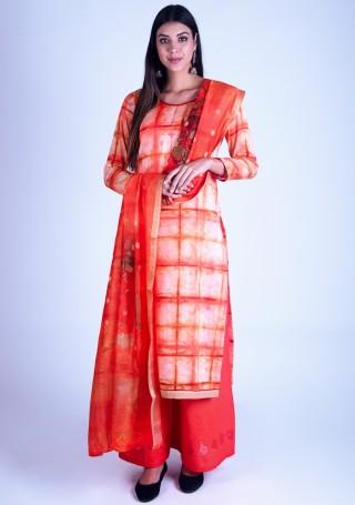 Multicolor Printed Satin Silk Suit Set