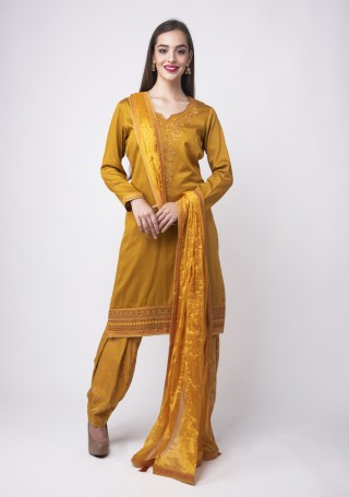 Mustard Embroidered Suit Set With Jacquard Salwar