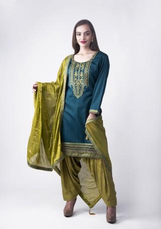 Royal Blue Embroidered Suit Set With Jacquard Salwar