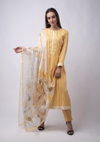 Multicolour Printed Cream and Yellow Suit Set