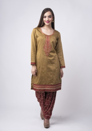 Olive Green Embroidered Suit Set With Jacquard Salwar