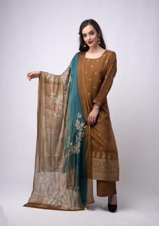 Peanut Brown Banarasi Jacquard Embellished Palazzo Suit Set