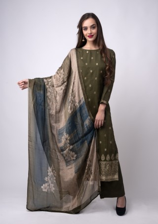 Khaki Green Banarasi Jacquard Embellished Palazzo Suit Set