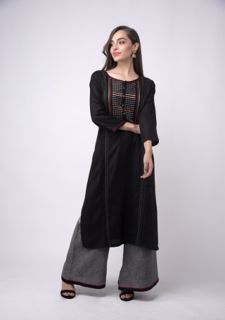 Black Rayon Flex Embroidered Kurta Pant Set