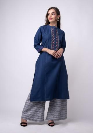 Royal Blue Rayon Flex Embroidered Kurta Pant Set
