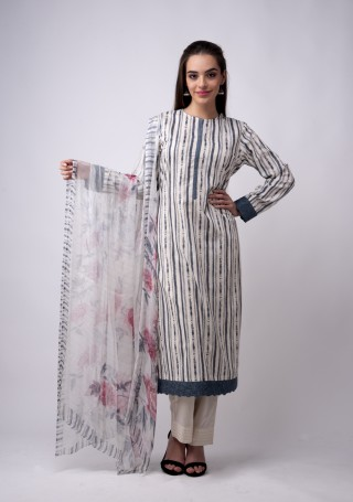 Multicolour Printed Ivory And Grey Suit Set