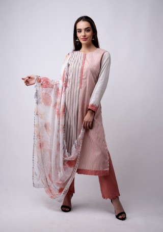 Multicolour Printed white And Coral Suit Set