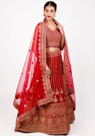 Scarlet Red Emroidered Bridal Lehenga Set