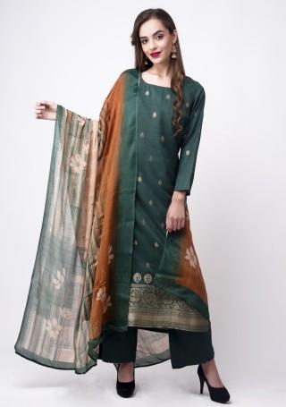 Teal Green Banarasi Jacquard Embellished Palazzo Suit Set