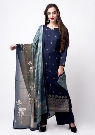 Navy Blue Banarasi Jacquard Embellished Palazzo Suit Set