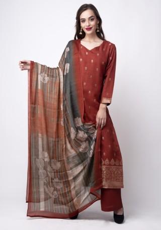 Rust  Banarasi Jacquard Embellished Palazzo Suit Set