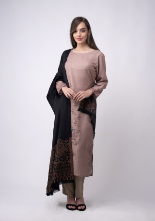 Pale Mauve Digital Printed Pashmina Suit Set with Shawl