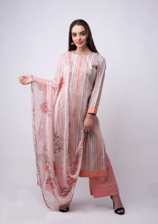 Multicolour Printed Peach and Grey Suit Set