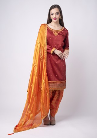 Maroon Embroidered Suit Set With Jacquard Salwar