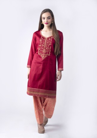 Red wine Embroidered Suit Set With Jacquard Salwar