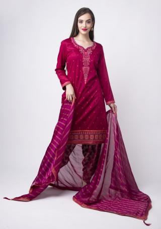 Magenta Pink Embroidered Suit Set With Jacquard Salwar