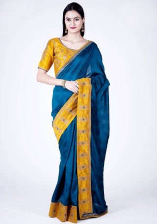 Prussian Blue Self Textured Silk Saree with Embroidered Border