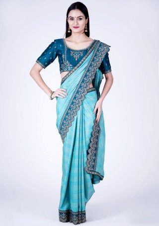 Baby Blue Self Textured Silk Saree with Embroidered Border