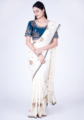 Off-White Self Textured Silk Saree with Embroidered Border