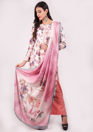 Ivory Multi-Colour Digital Printed Pashmina Suit Set