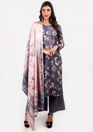 Grey Colour Digital Printed Pashmina Suit Set