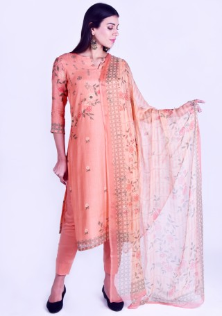 Peach Printed Pure Cotton Silk Kurta Set