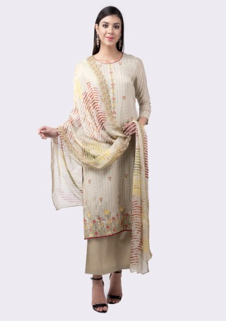 Light Olive Green Muslin Silk Embroidered Suit Set