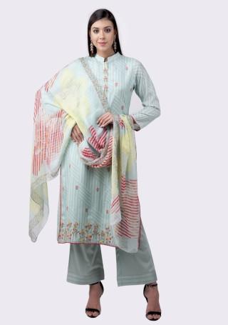 Light Blue Muslin Silk Embroidered Suit Set