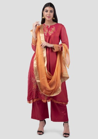 Scarlet Red Silk Double Layered Embroidered Kurta Bottom Set