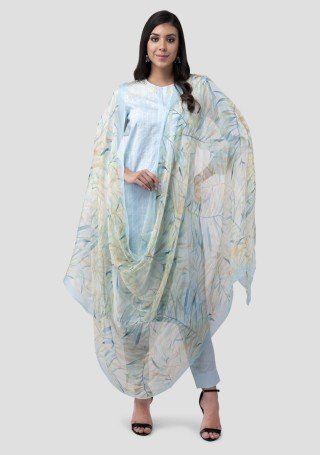 Sky Blue Lawn Cotton Embroidered Kurta Bottom Set