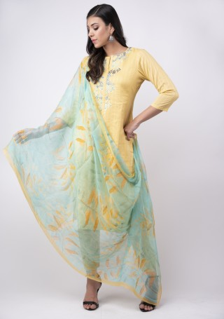 Pastel Yellow Lawn Cotton Embroidered Kurta Bottom Set