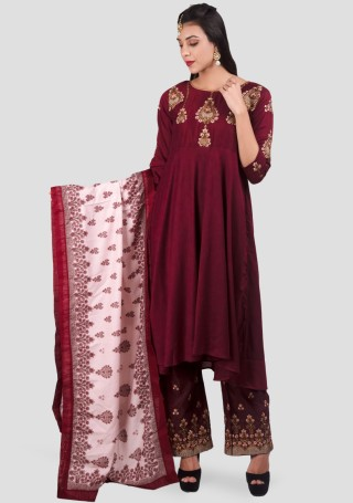 Wine Red Anarkali Kurta with Embroidered Palazzo and Dupatta