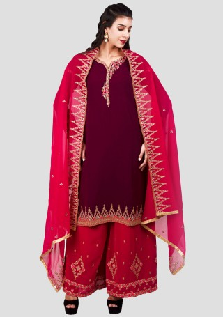 Wine & Pink Georgette Embroidered Kurta with Palazzo and Dupatta