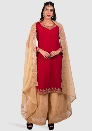 Red & Beige Georgette Embroidered Kurta with Palazzo and Dupatta