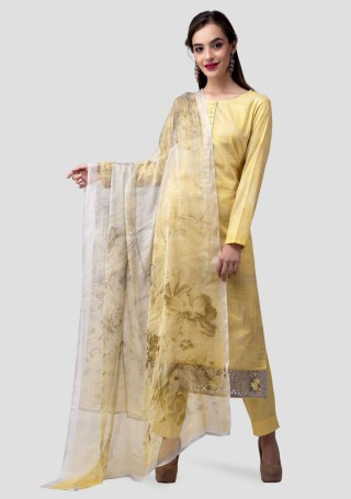 Yellow Lawn Cotton Abstract Digital Printed Kurta Bottom Set