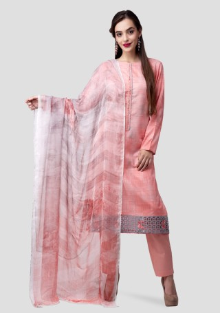 Peach Lawn Cotton Abstract Digital Printed Kurta Bottom Set