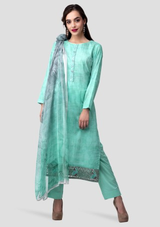 Sea Green Lawn Cotton Abstract Digital Printed Kurta Bottom Set