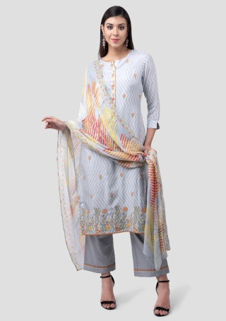 Ice Blue Muslin Silk Embroidered Suit Set
