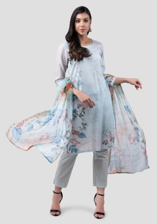 Light Blue Linen Cotton Digital Printed Kurta Bottom Set