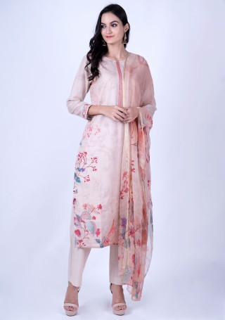 Light Pink Cotton Digital Printed Kurta Bottom Set