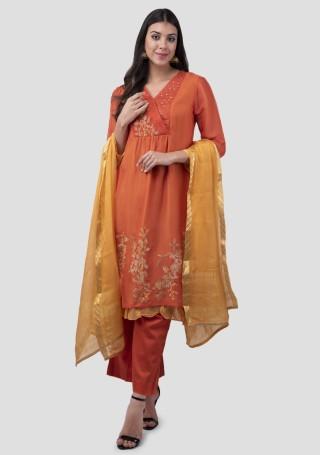 Orange Silk Double Layered Embroidered Kurta Bottom Set