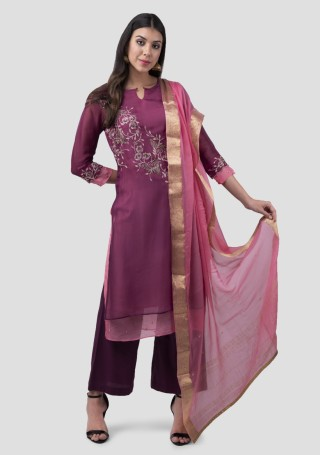 Purple Silk Double Layered Embroidered Kurta Bottom Set