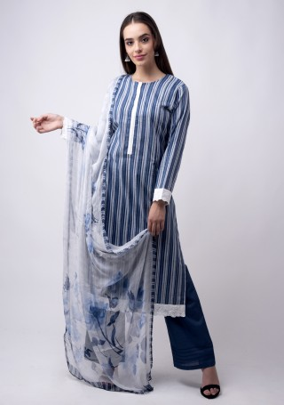 Multicolour Printed white And Blue Suit Set